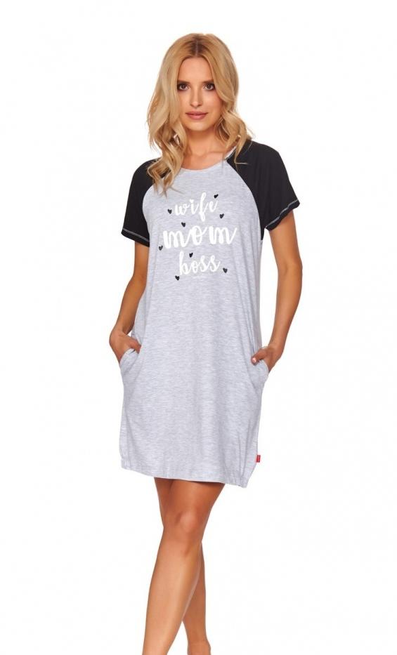 Szara koszulka ciążowa i do karmienia, z suwakami i nadrukiem