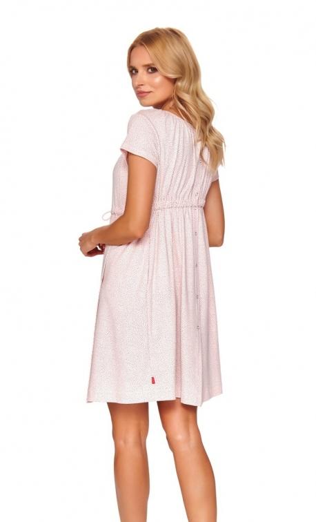 Różowa koszula ciążowa rozpinana z tyłu na całej długości