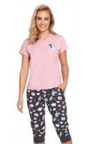 Damska piżama ze spodniami długości 3/4 w urocze zwierzątka