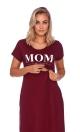 Mom - bordowa koszulka z ekspresem pod biustem