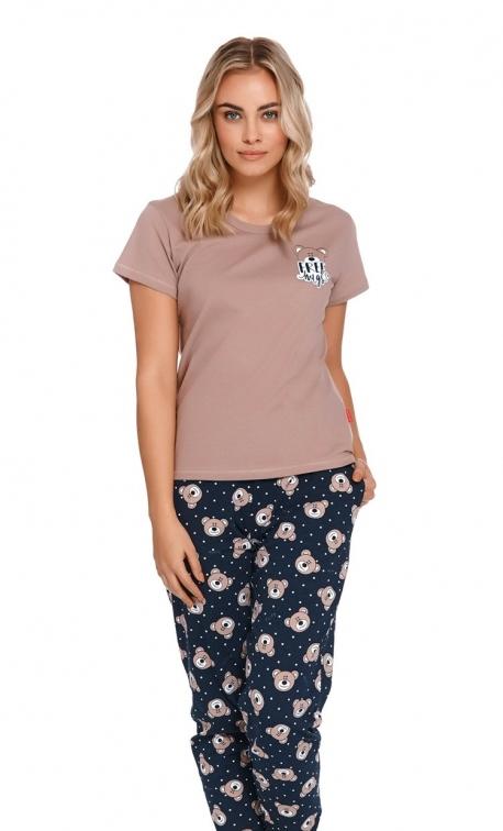Dwuczęściowa beżowa piżama z bawełny organicznej w misie