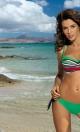 Kostium kąpielowy Justine paski + Crickiet M-298 zieleń z czerwienią (177)
