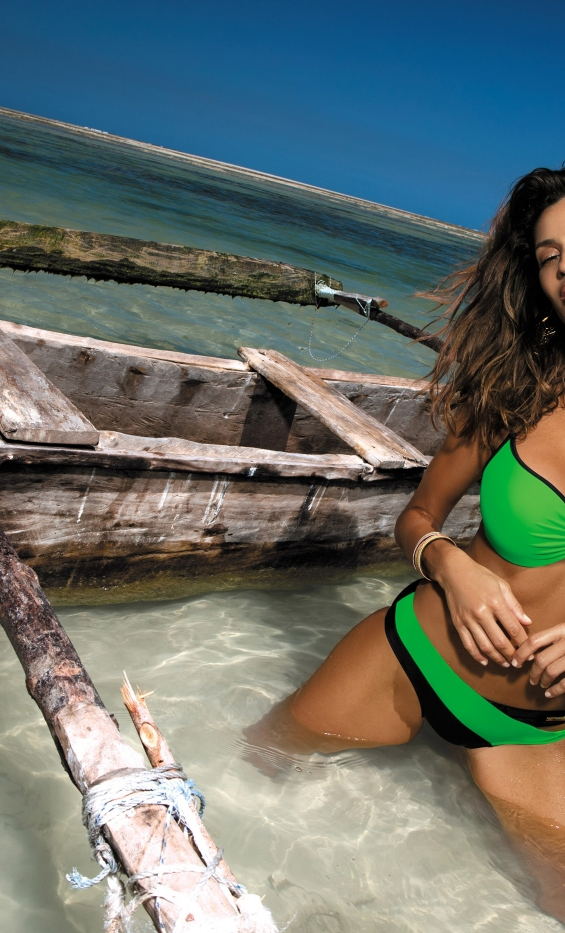 Kostium kąpielowy Jennifer Bright Green-Nero M-408 (9)